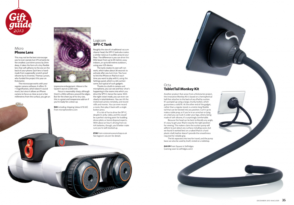 MacUser Magazine's 2013 Gift Guide including Octa's TabletTail:Monkey Kit iPad Stand.