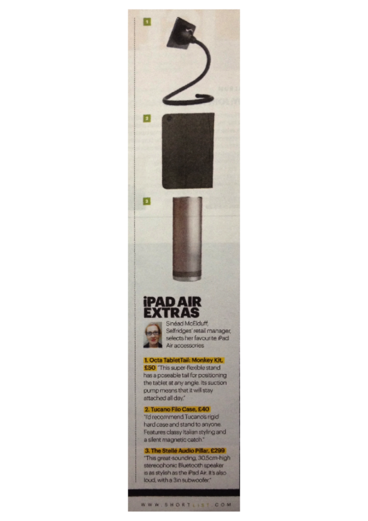 Clip from Shortlist Magazine's list of iPad Accessories