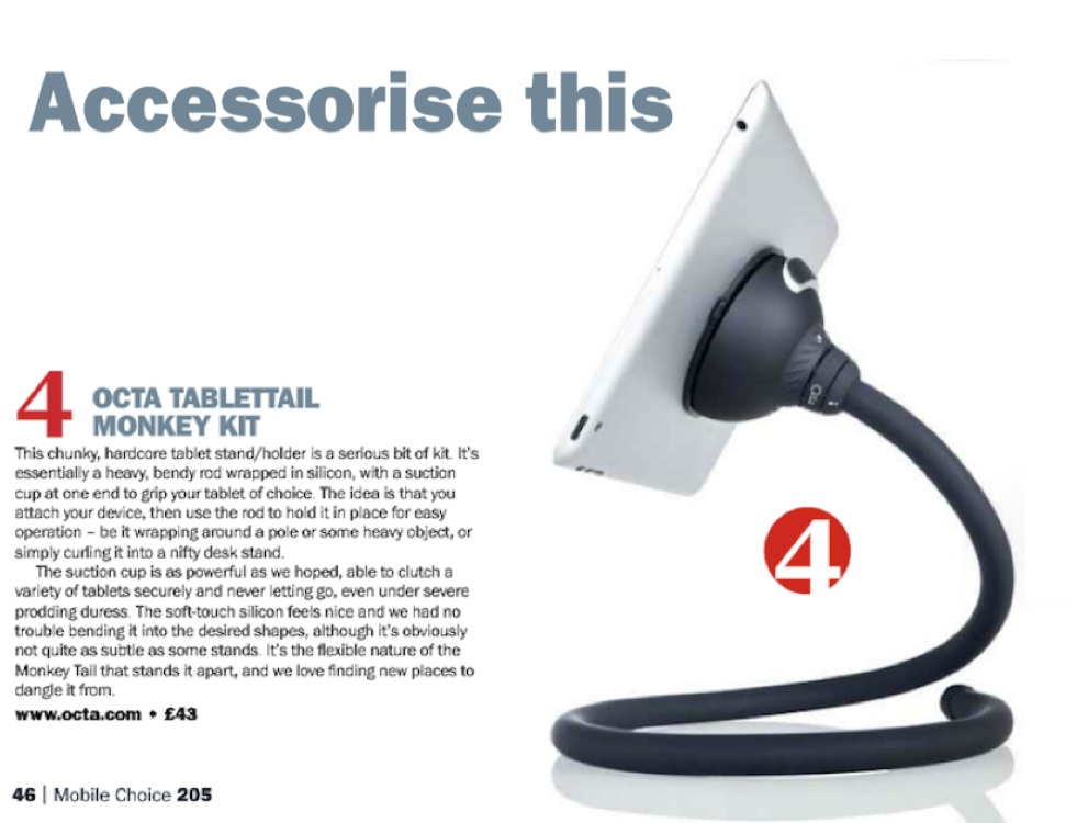 Magazine clipping from Mobile Choice Magazine featuring the Monkey Kit tablet accessory.